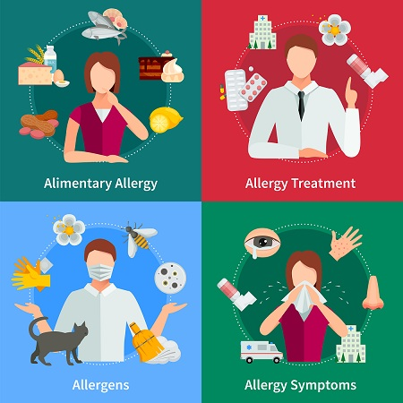 Allergy Concept Icons Set